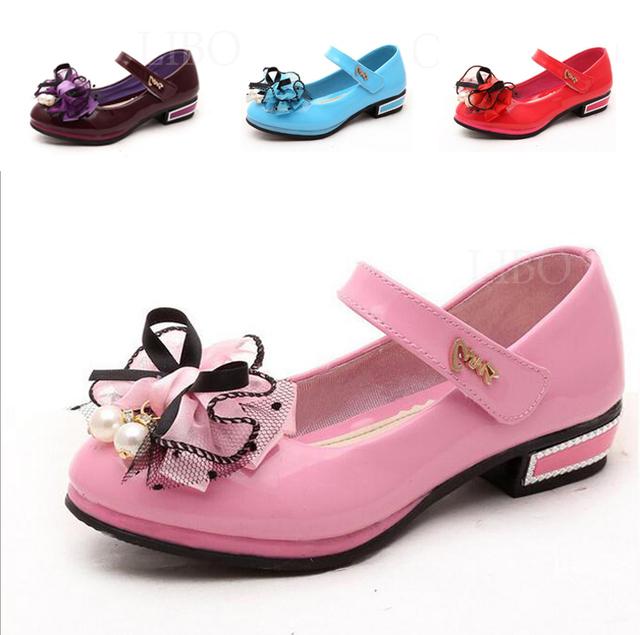 Primavera de couro crianças pu shoes moda arcos meninas princesa shoes sweet candy cor crianças dance shoes