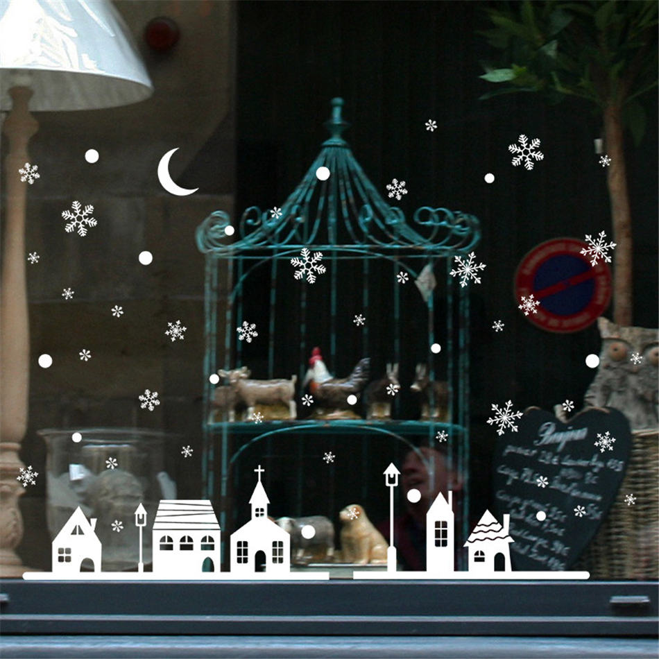 Wallpaper Sticker Christmas Shop Window Wall Stickers Snowflakes Town Decor 25*35cm Wallpapers For Living Room B#
