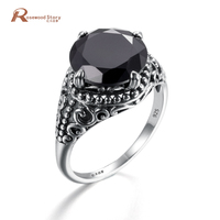 Medieval Pattern Elements Black Zircon Rhinestone Rings For Women Wild Antique 925 Sterling Silver Party Gift