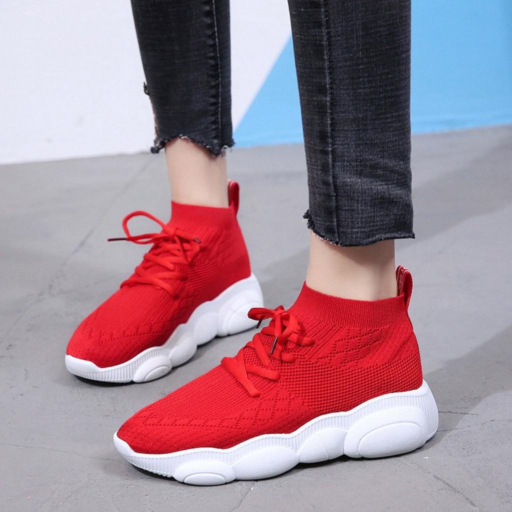 Deporte Redondo Caminar Dedo 2019 Tobillo Transpirable De Zapatos Corriendo Del Negro Pie Invierno Mujeres Zapatillas Correr rojo Tela Plana Elástico Moda q14Z4Yx