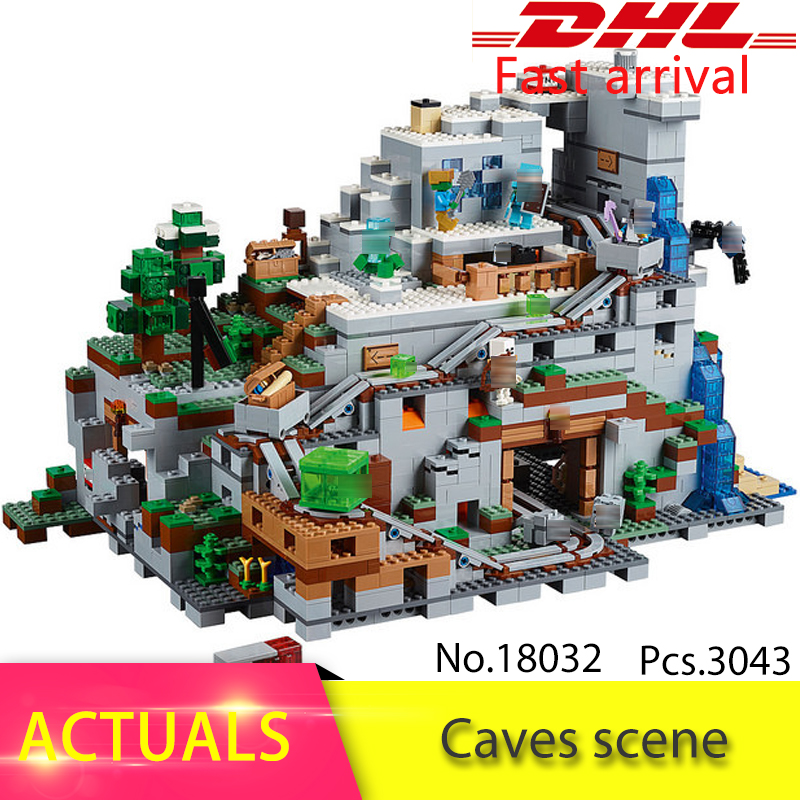 LEPIN 18032 3043PCS The Mountain Cave My worlds Model Building Kit Blocks Bricks Children Toys Clone 21137 уэллс г война миров the war of the worlds