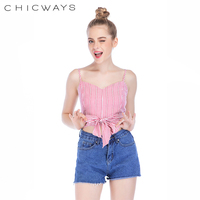 Chicways pleated cami 2018 Summer crop top waist bow Sleeveless shir back sweetheart neck Sexy Spaghetti Strap Ladies Cami Top