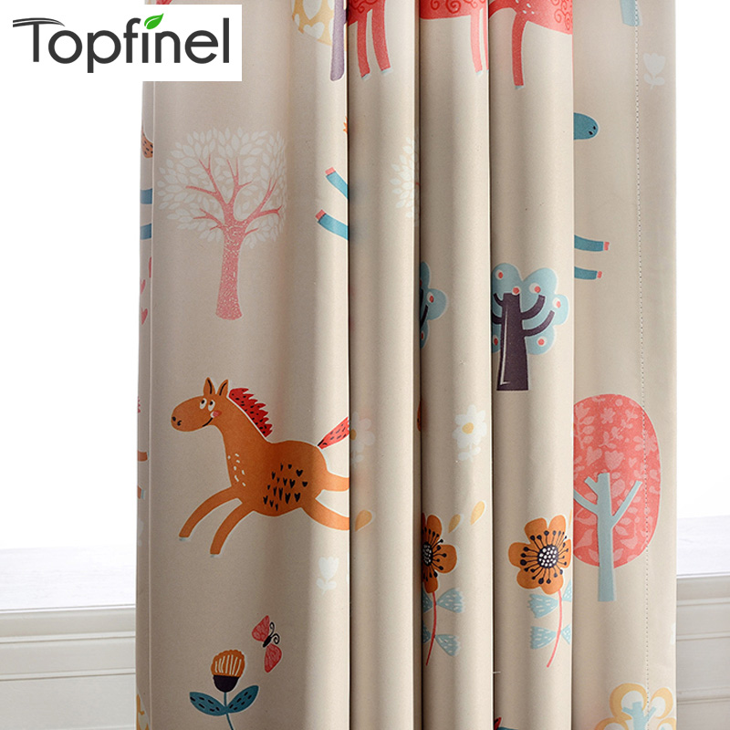 Cute Cartoon Blackout Curtains For Living Room Bedroom Kids Baby Room Window Panel Curtains For Children