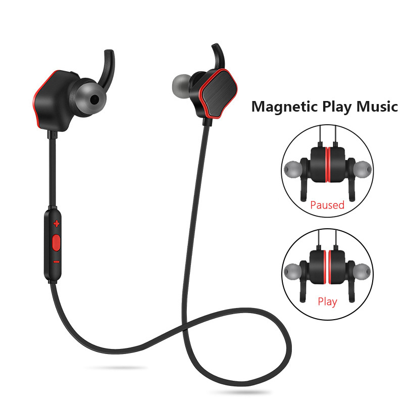 Magnetic Switch Wireless Sport Anti-sweat Headset Earbuds Earphones with Microphone In-Ear for iphone X 8 7 6 xiaomi huawei etc dual drive stereo earbuds 3 5mm silicone in ear earphones sport wired ear hook earphone with microphone for huawei xiaomi iphone