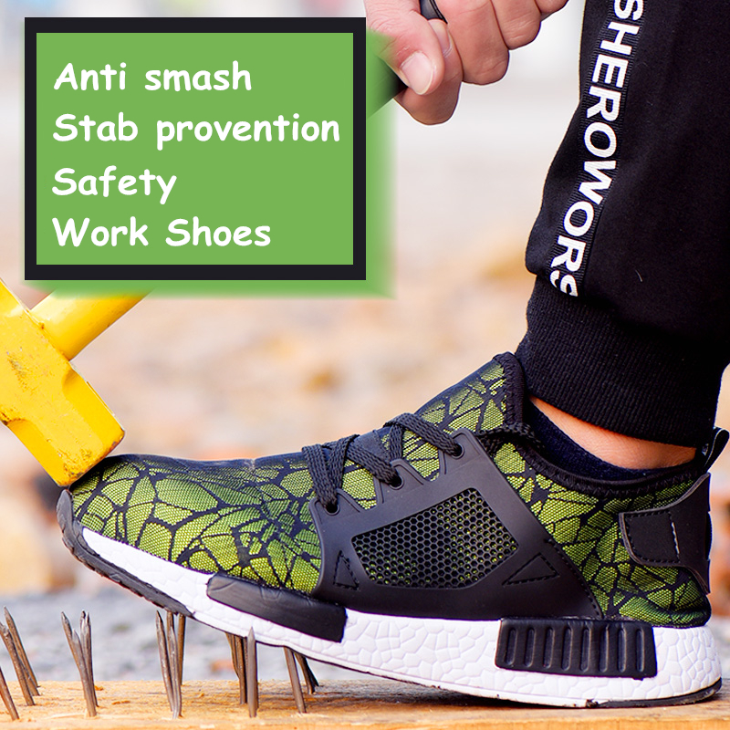 A Professional Work Shoes Mens Sneakers 2019 Safety Shoes Women Breathable Steel Toe Shoes Woman Men Shoe for worker Size 35-46