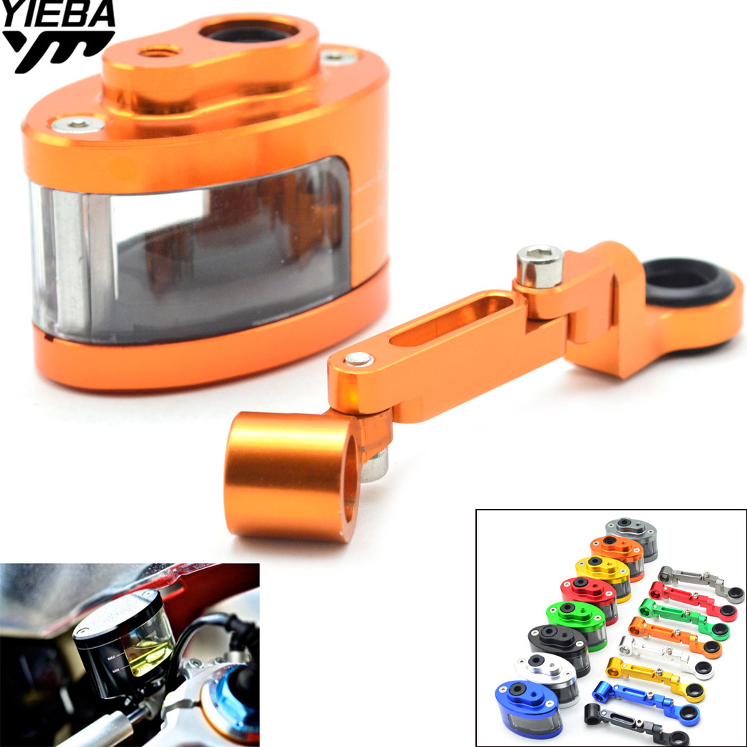 CNC Motorcycle Brake Fluid oil Reservoir Cup tank +support bracket FOR KTM EXC 125 200 250 300 350 suzuki SV650/S SFV650 GLADIUS motorcycle brake fluid reservoir clutch tank oil fluid cup for ktm 125 200 390 duke bmw s1000rr r1200gs kawasaki er6n ninja 300