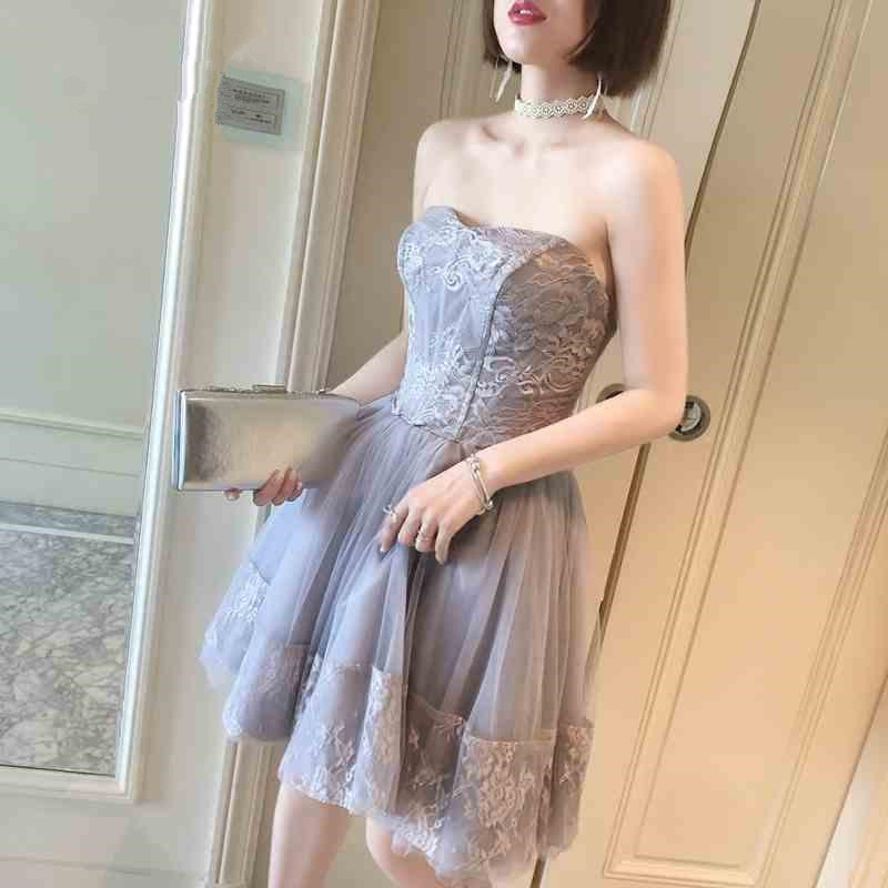 Grey Tulle and Lace Formal Dress Women Sleeveless Off The Shoulder Party Dress Plus Size One piece Vestido de Festa 0504