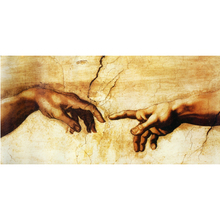 Cotton Canvas Prints Famous Oil painting (Creation of Adam) by Michelangelo Giclee Print On Canvas For Living Room Decoration