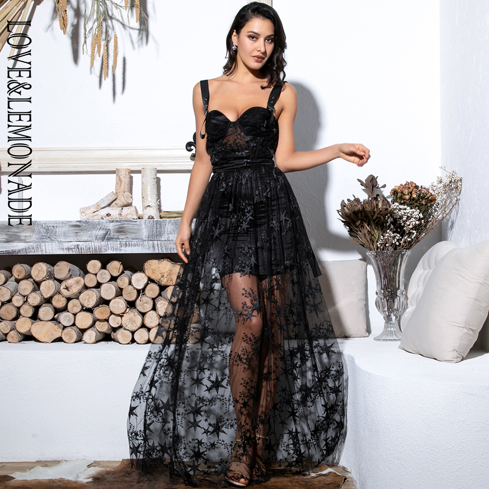 LOVE LEMONADE Sexy Black Sling Perspective Star Mesh Material Long Dress LM81759