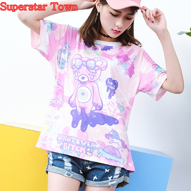 Summer Harajuku Shirt Cute Bear Prints Lolita Womens T-shirt Summer Kawaii Tshirts Female Top Short Sleeve Tee Shirt Femme