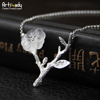 Artilady Handmade Crystal Pendant Necklace Tree Branch 925 Sterling Silver Necklace For Women Jewelry Party Gift