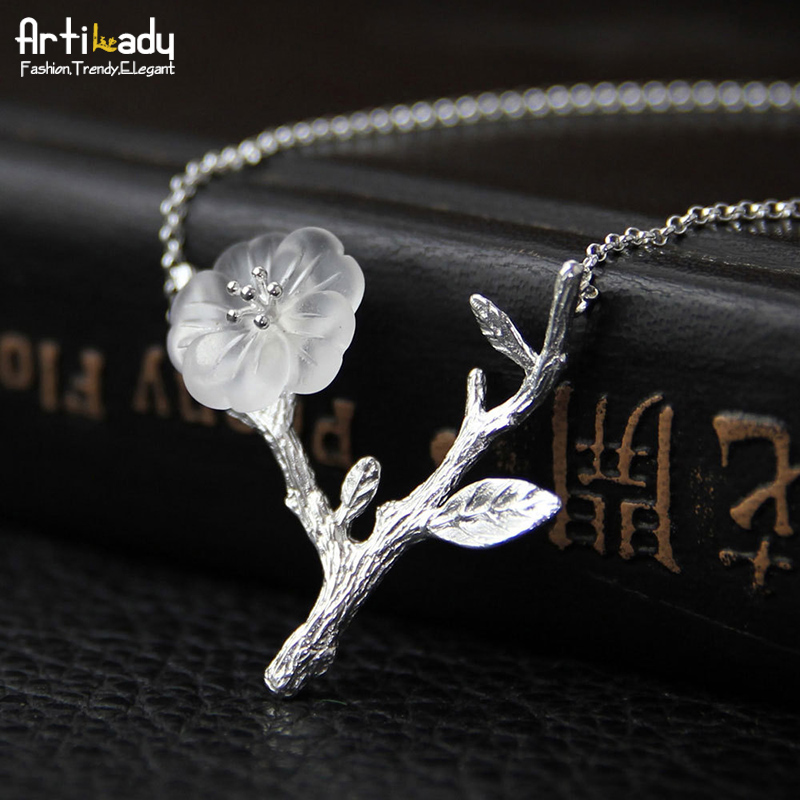 Artilady handmade crystal pendant necklace tree branch 925 sterling silver necklace for women jewelry party gift dropshipping