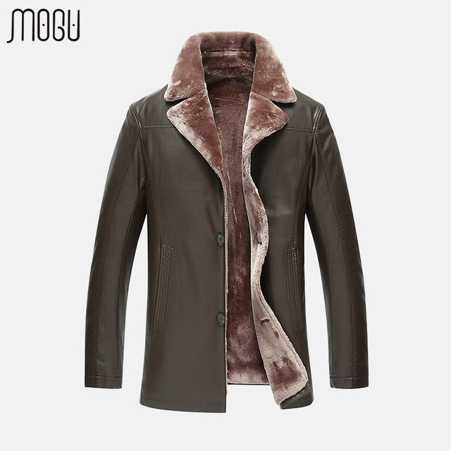 MOGU PU Leather Jacket Men Winter Leather Jacket Fur Men Mens Faux Fur Coats