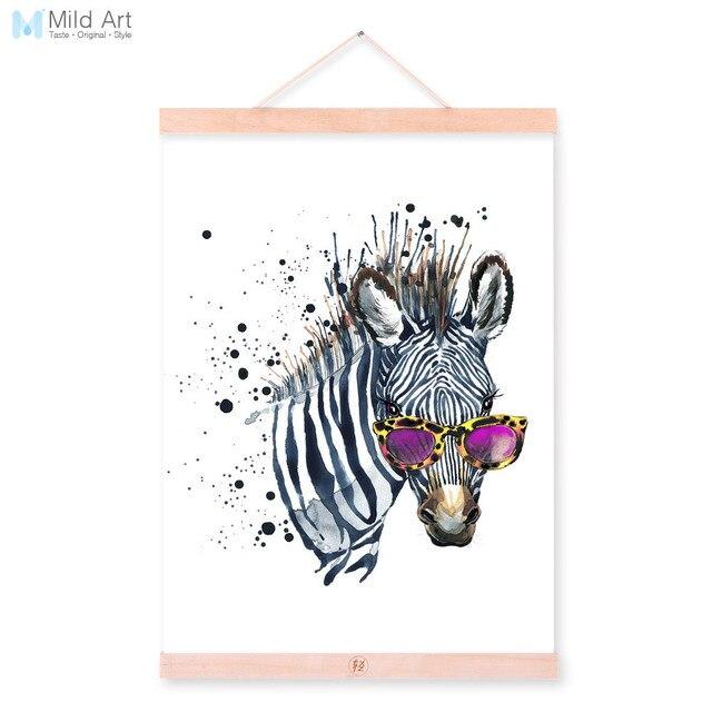 Zebra Watercolor Fashion Animal Wildlife Portrait Wood Framed Canvas ...
