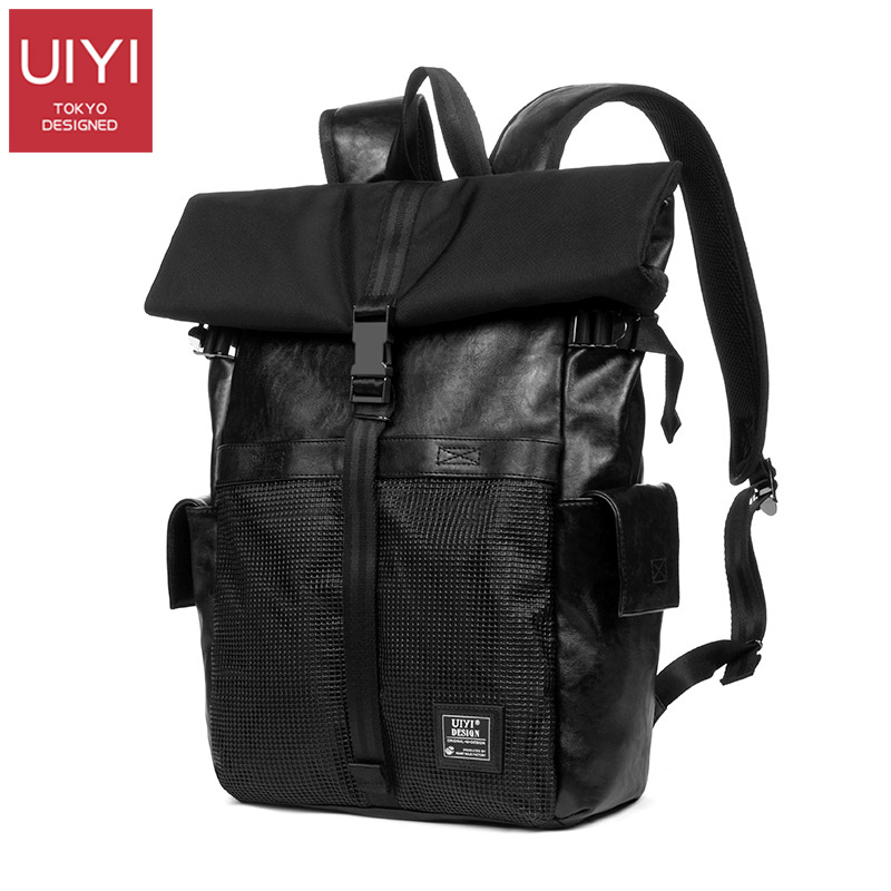 Japanese tide brand clamshell backpack men backpack pu leather stitching plastic mesh college wind roll cover
