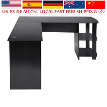 New Style L-Shaped Office Computer Desk Home Study Work PC Table Large Workstation Corner Desk With 2 Shelves(China)