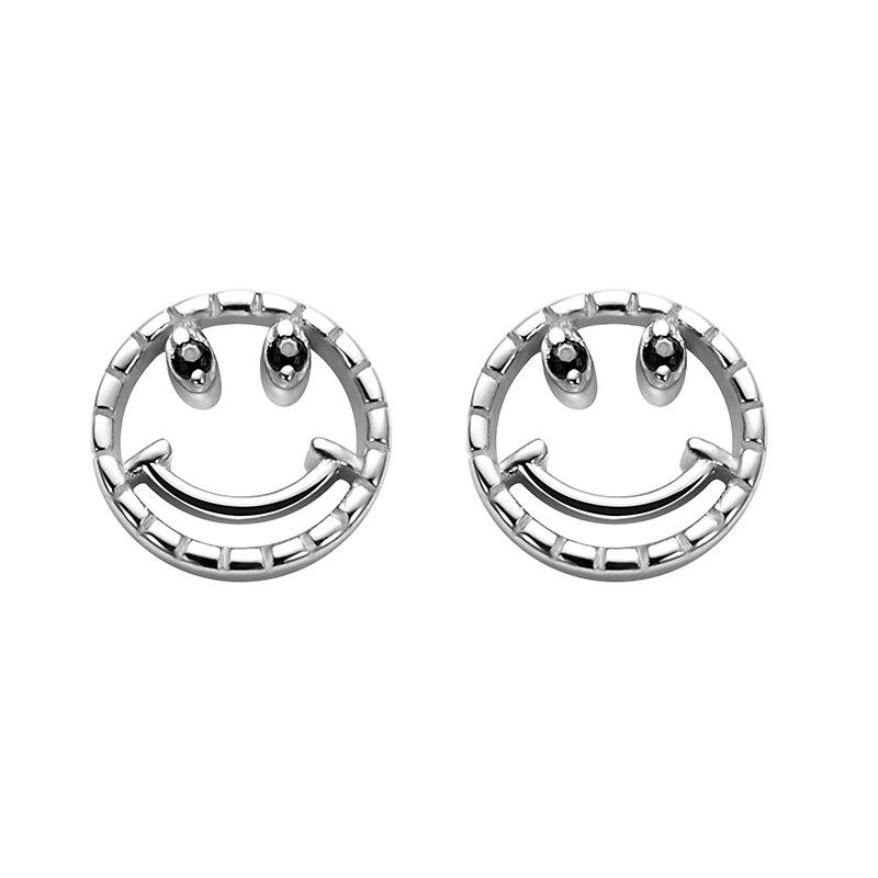 LEKANI 2019 mode 925 en argent Sterling élégant creux rond sourire visage noir cubique zircone yeux boucles d'oreilles bijoux cadeau