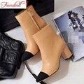Mujeres de la manera botines de cuero genuino dedo del pie acentuado gruesas mediados de talones de la mujer diseñador de la marca de alta calidad otoño invierno calzado