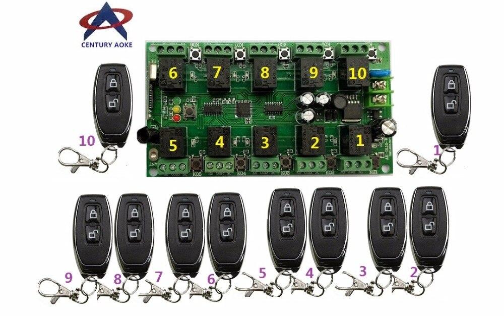 DC12V 10A 10CH RF système de télécommande sans fil 1 récepteur + 10 * (JF) émetteurs individuels apprentissage code portes/lampe