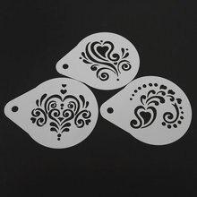 2.8 Inch Plastic Cappuccino Coffee Stencil Flower Latte Art Stencils Template Mold Barista Tools
