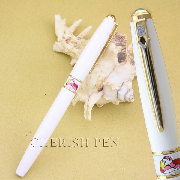 Hot-selling Picasso 966 Blinding Art 10k Pure White Golden Roller Ball/Ballpoint/Ball/Gift/Rollerball Pen Free Shipping Pens