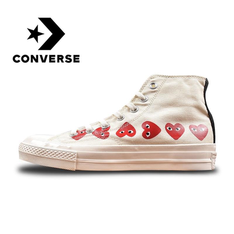 Converse All Star CDG X Chuck Taylor S 1970 s HiOX 18SS Скейтбординг белый с высоким берцем Аутентичные для мужчин и женщин повседневная обувь Спорт