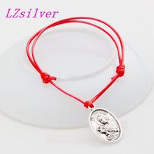 Hot ! 10 pcs Bracelets Our Lady of Perpetual Help with Saint Gerard Medal Alloy Charm Red Waxes rope Adjustable Bracelet B-31