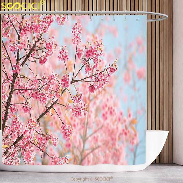 Funky Shower Curtain Nature Japanese Sakura Tree Flowers On Branches Cherry Blossoms Spring Season Picture Pink Light Blue