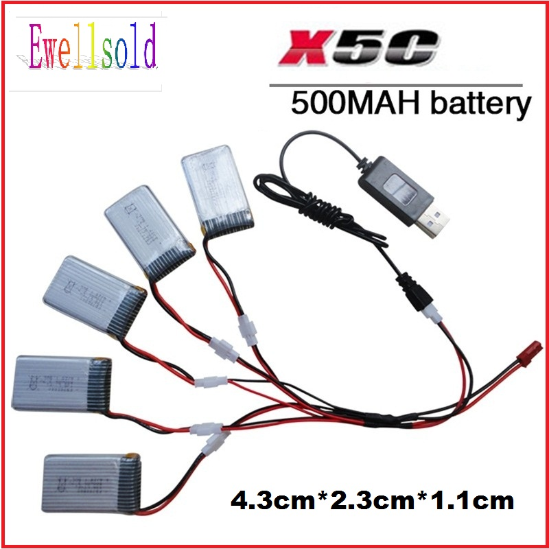 Ewellsold X5C-1 X5C X5SC X5SW rc quadcopterspare parts set x5c Li-po battery 3.7V 500mah 20C with USB cable charger