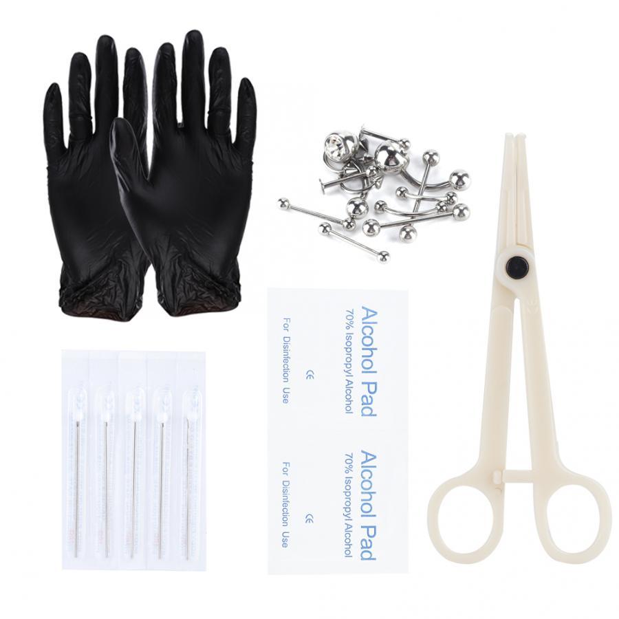 8pcs Professional Body Piercing Tool Kit Nose Navel Nipple Needles Set Make Up Body Jewelry Piercing Rings Clamp Gloves Needles