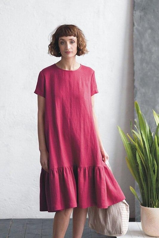 LinenAll originele vrouwen 100% linnen korte mouwen Franse vrouwen jurk met O hals EEN losse comfortabele koele jurk gewaad - 2