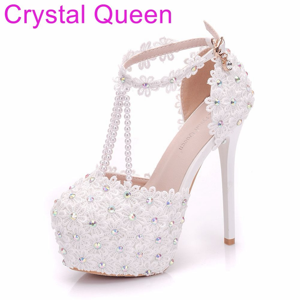 Crystal Queen Fashion Wedding Pumps Sexy High Heel Shoes High Plateform Lace  Flower Sandals Women Party Shoes Summer Sandals 11802c55e168