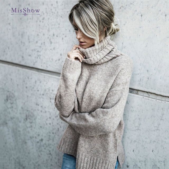 MisShow Winter Turtleneck Knitted Sweater Long Sleeve Street Pull Femme  Hiver Women 18f0ff520