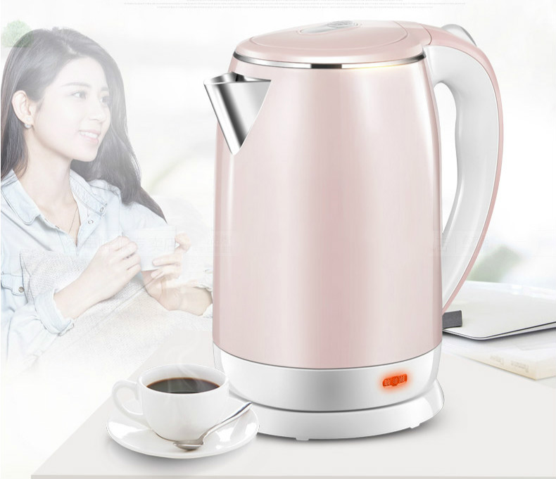 electric kettle powered by 304 stainless steel Overheat Protection Safety Auto-Off Function hot insulated double layer proof electric kettle anti dumping stainless steel kettles overheat protection