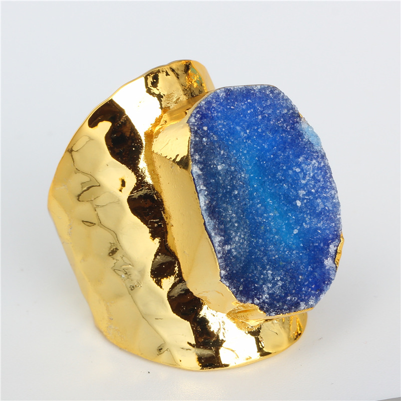 Luxury Jewelry Royal Blue Rough <font><b>Raw</b></font> Druzy <font><b>Crystal</b></font> Semi Precious Stone Gold Color Hammered Adjustable Open <font><b>Ring</b></font> Unisex Men image