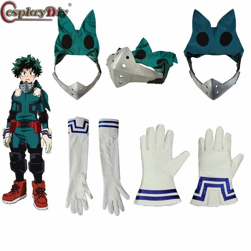 CosplayDiy My Hero Academia 3 Boku No Hero Academia Cosplay Izuku Midoriya Battle Costume Props Deku Mask Gloves Accessory
