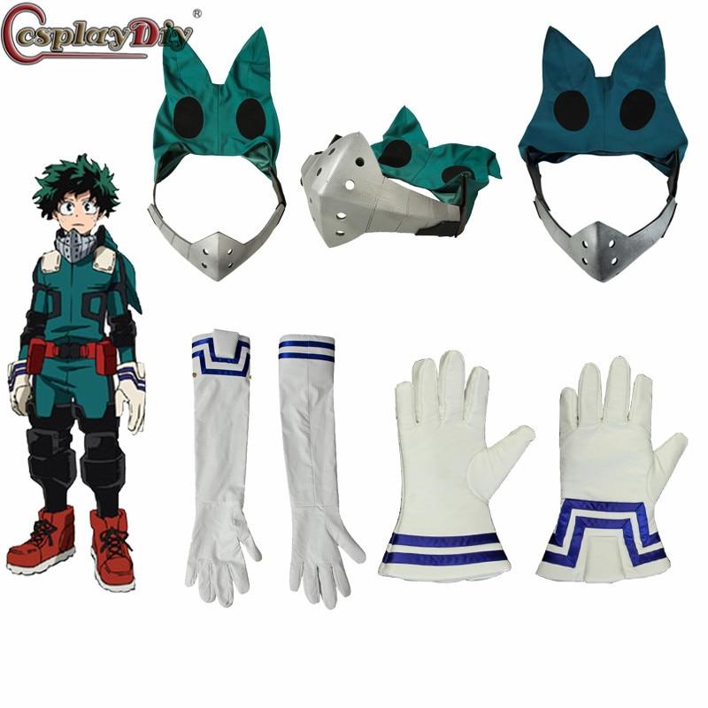 Cosplaydiy meu herói academia 3 boku nenhum herói academia cosplay izuku midoriya batalha adereços máscara deku luvas acessório