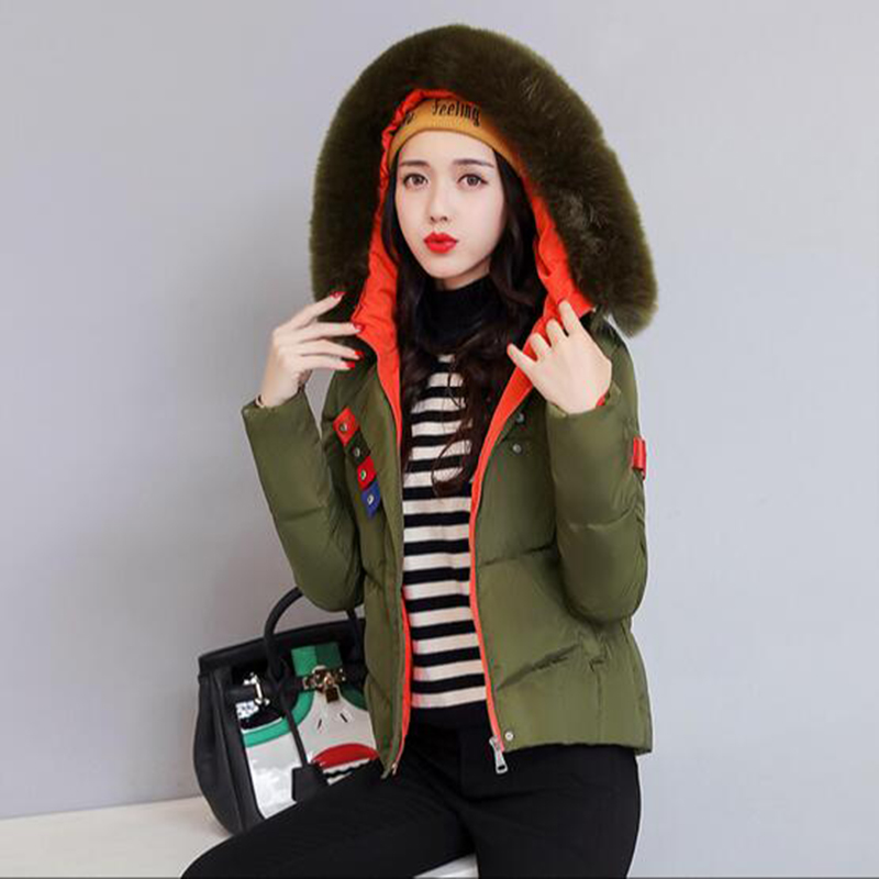 Slim Basic Parkas New Fashion Autumn Winter Jacket Women Faux Fur Collar Hooded Cotton Coat Female Short Cotton Coats PW1037 muxu new autumn winter coat women basic jacket coat female slim hooded cotton coats casual silver long sleeve ladies jackets