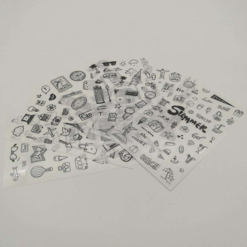 6pcs I Love Travel Transparent Sticker Organizer Calendar Diary Book Planner Scrapbook Decoration Diary Sticker Papeleria