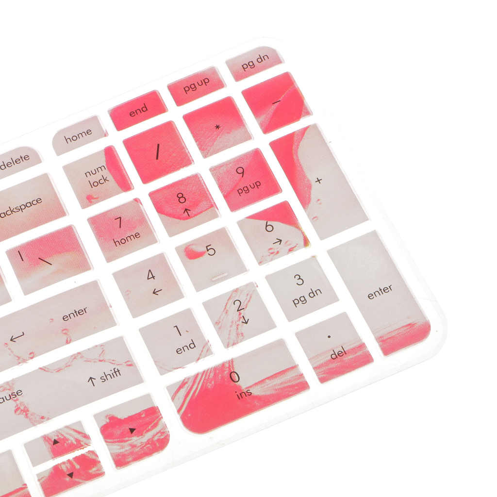 سيليكون غطاء جلد للوحة المفاتيح طبقة واقية لوحة المفاتيح حامي الأبيض مع الوردي ارتفع نمط ل جناح HP 15-ab 15 بوصة دفتر