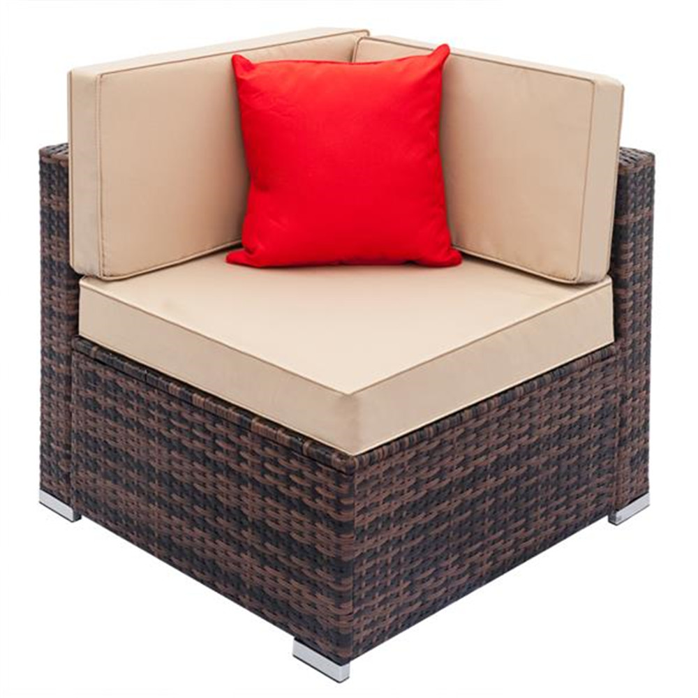 Simple Comfortable Fully Equipped Weaving Rattan Sofa Set Combination Sofa Set Brown-Right Sofa  Purchased Separately