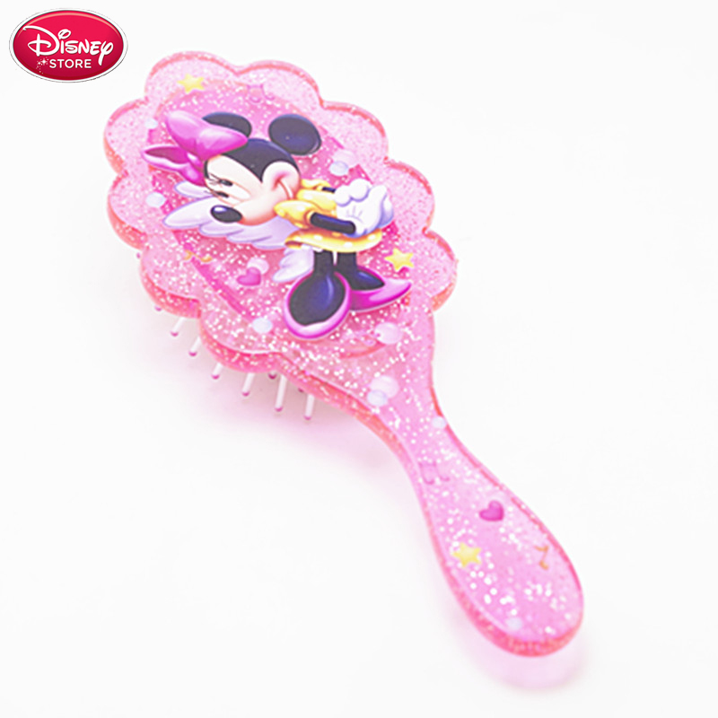 Disney Minnie Mouse Comb Kids Gentle Anti-static Brush Tangle Wet & Dry Bristles Handle Tangle Comb Curly Hair Brush Combs