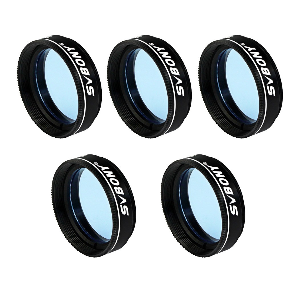 5pcs SVBONY 1.25'' Filter Eyepiece Telescope Light Pollution Blue Moon Filter for Astronomy Monocular Telescope 31.7mm F9114L svbony 1 25 inch eyepiece telescope swa 58 degree 4 6mm planetary eyepiece for astronomy telescope monocular w2491a