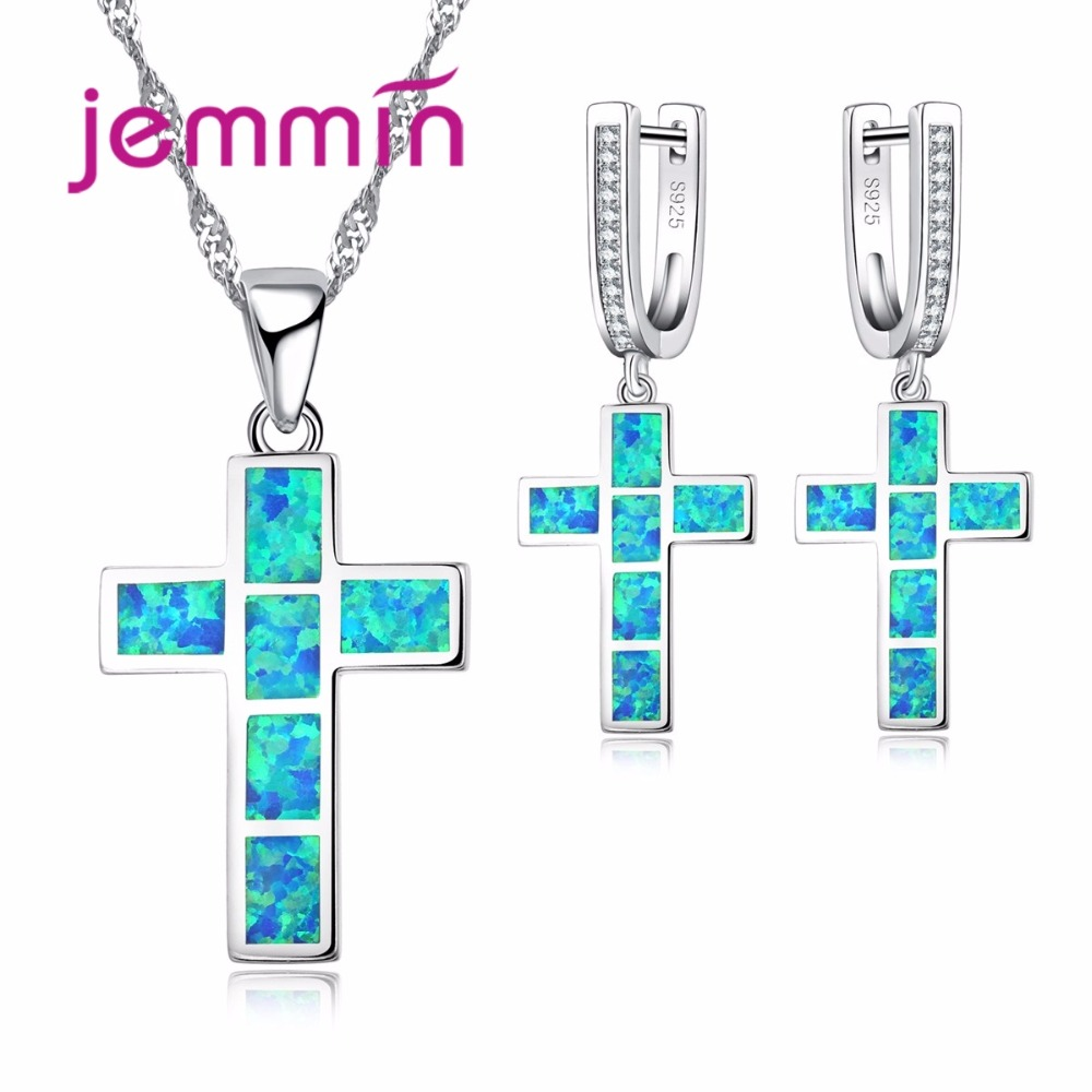 Cross Necklaces Pendant 925 Sterling Silver Bridal Wedding Jewelry Sets Fine Quality Blue Fire Opal Necklace Earring Set|jewelry sets|jewelry sets wedding|fine jewelry - title=