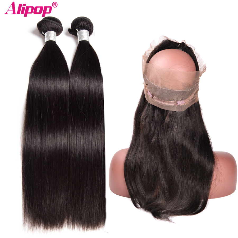 360 Lace Frontal With Bundle Brazilian Hair Weave Bundles with Closure Human Hair 2 Bundles ALIPOP