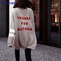 Yeni Kadın Moda Cardigans Mektuplar Nakış Örme Coat Tek Breasted Boy Cardigans Triko Yeni Stil Vintage Çekin