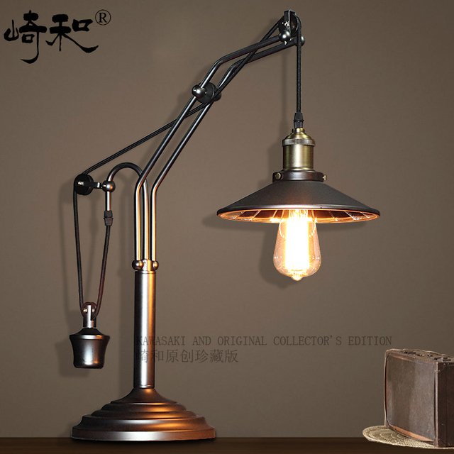 Kawasaki And American Retro Rustic Bedroom Bedside Lamp Wrought Iron Study Desk Table Decoration Ideas