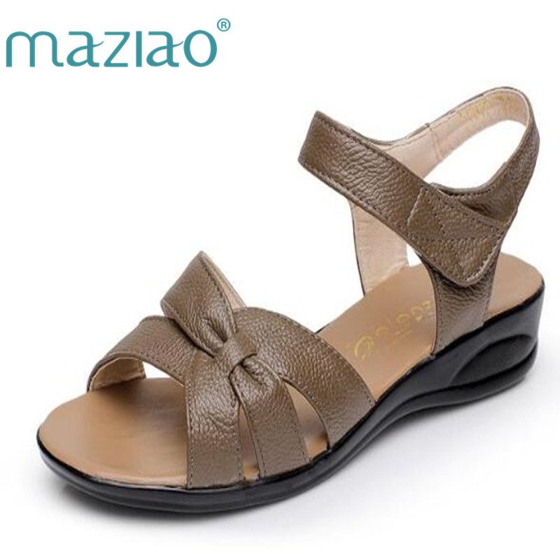 MAZIAO Plus size 32-43 flat summer sandals for women mother shoes genuine leather nurse shoes flat maternity shoes women sandal beyarne white nurse shoes sandals leather wedges cow muscle outsole women summer maternity shoes sandals mother shoes size 33 41