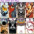 Plástico duro e macio tpu tampa do telefone para htc one e9 e9 + E9 PLUS 5.5 polegada Casos Crânio Fresco Bonito Minions Flor Shell Protective