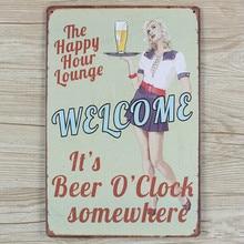 "[Live Wall] ""Welcome Beer O'clock"" pub signs vintage home decor Tin signs metal plaques bar decorwall art retro craft 20X30CM"